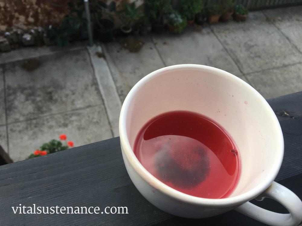 experimental pomegranate and sencha tea