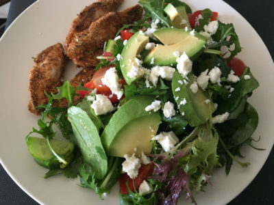 polenta crusted chicken with avocado salad - csiro low-carb diet book