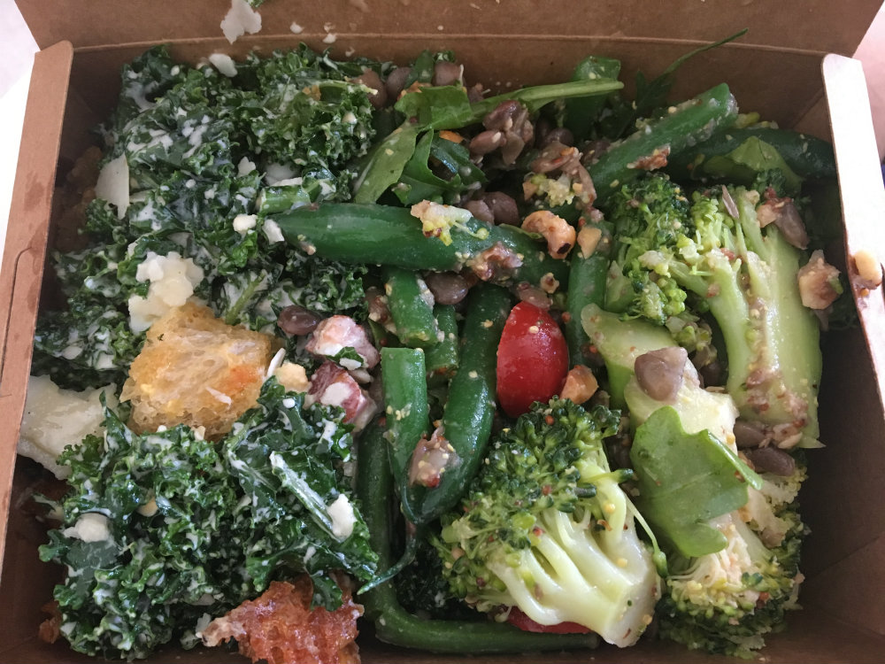 green kale caesar salad from alimentari smith street collingwood - greens in salad box