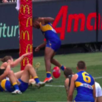Final goal which won the match for West Coast - action around the goal post AFL