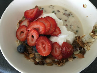 bowl of cereal, milk, yoghurt and berries - high protein breakfast cereal