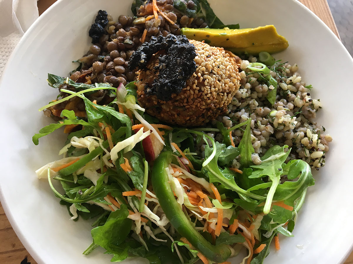 tofu ginger ball and black sesame sauce, roquet carrot, cabbage with nectarine dressing, buckwheat, quinoa, brown rice spring onion dill, lentil, roast pumpkin kale seasonal lunch bowl friends of the earth collingwood