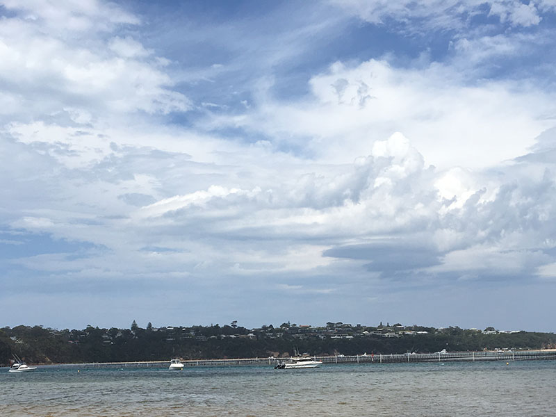fluffy clouds on the lake with boats and greenery in the distance
