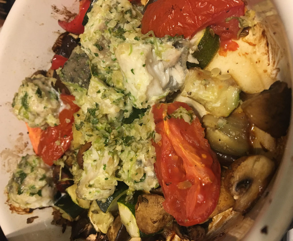 roasted vegetables and pesto crusted white fish fillet