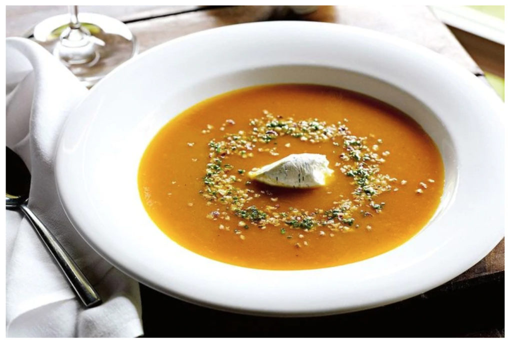 winter vegetarian lunch recipes - roasted pumpkin and ginger soup