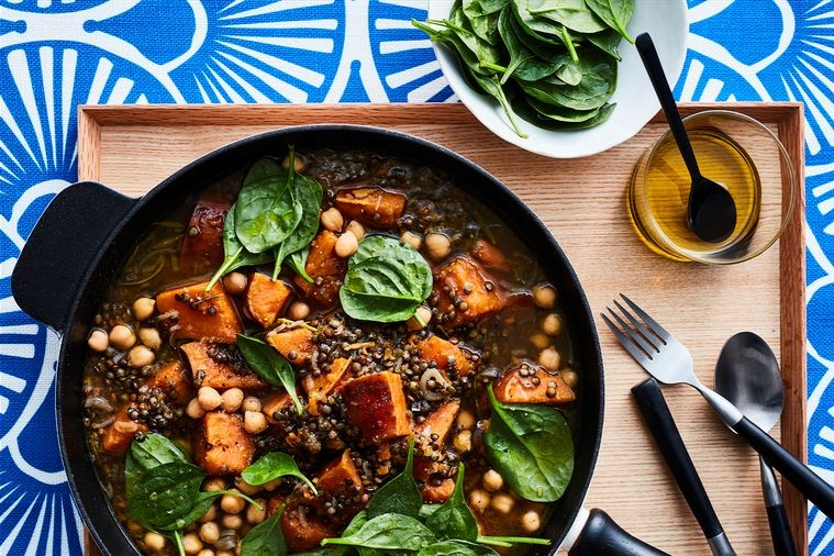 winter meal plans - vegan lentil, sweet potato and chickpea stew