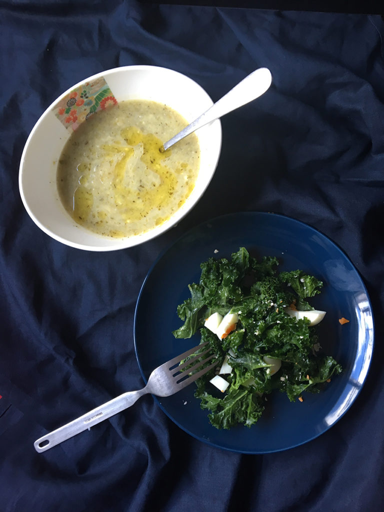 healthy winter meal plans - lunch - stilton soup and kale ceasar salad