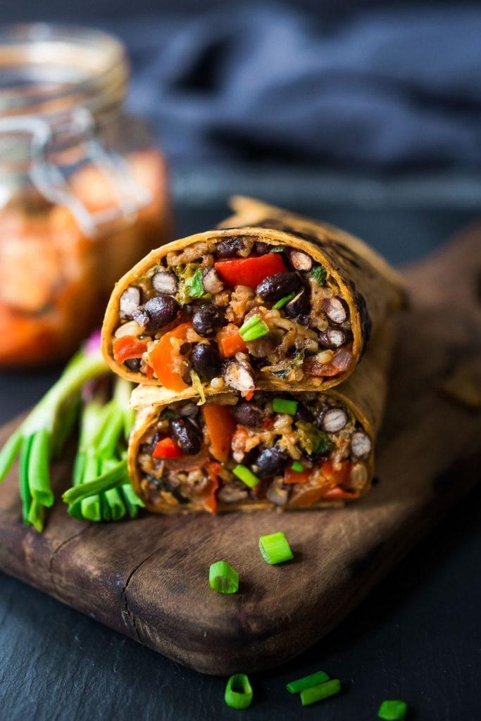 vegetarian autumn burrito