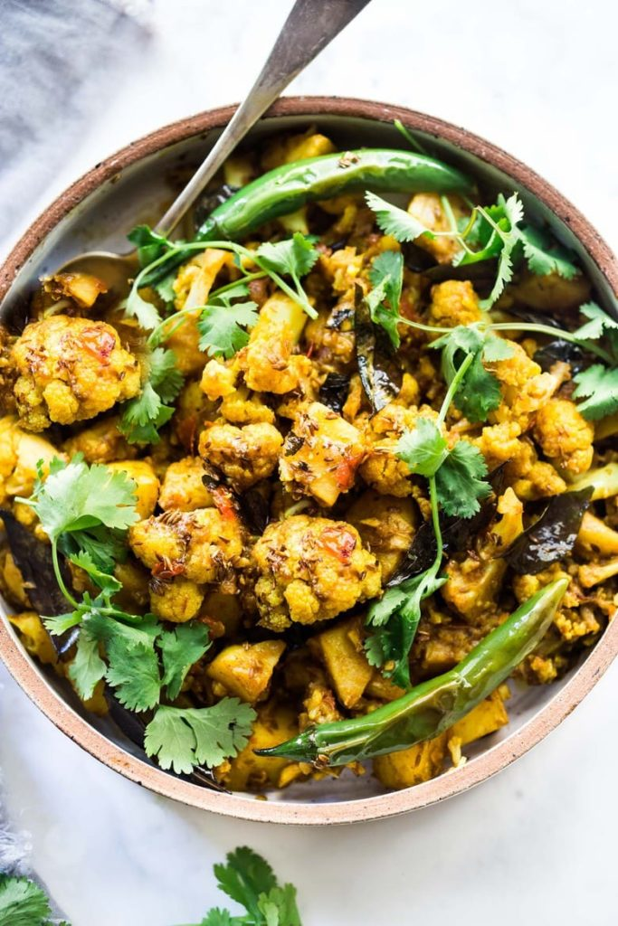 indian spiced potato and cauliflower dish