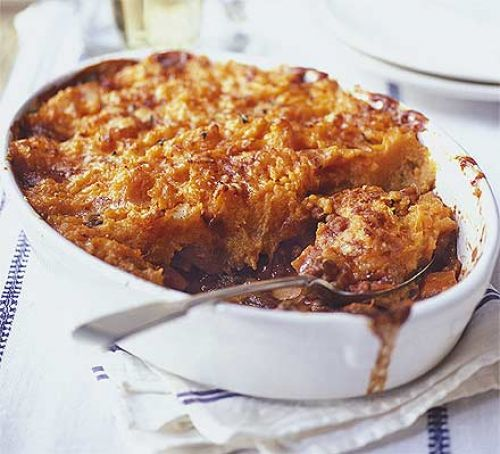 autumn shepherd's pie with sweet potato mash