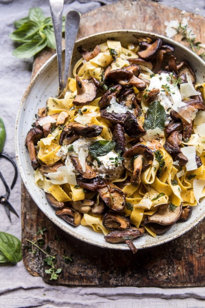 herb and butter mushrooms with tagliatelle