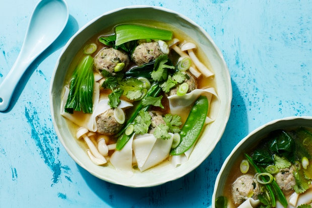 mushroom and zucchini meatball soup with wontons