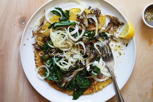 autumn cromlet recipe with wilted greens and fennel salad