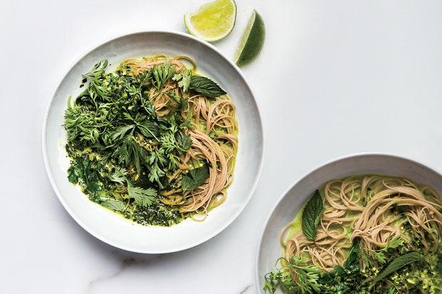 swiss chard green curry with brown rice noodles