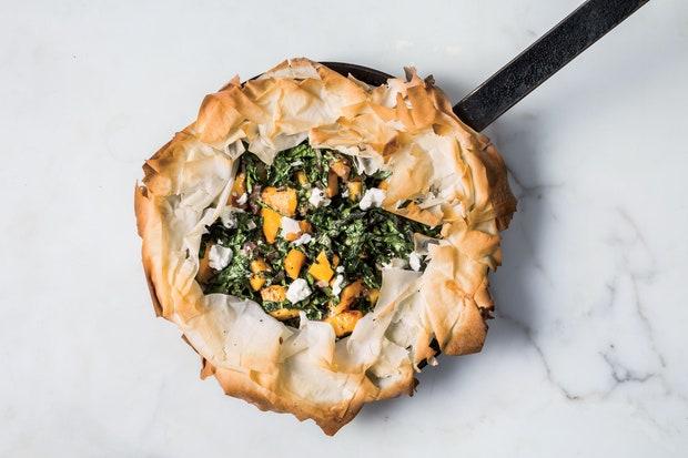 spinach and pumpkin filo pie - winter comfort food