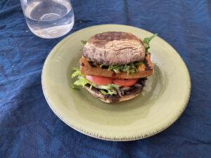 low carb burger - mushroom burger with chimichurri