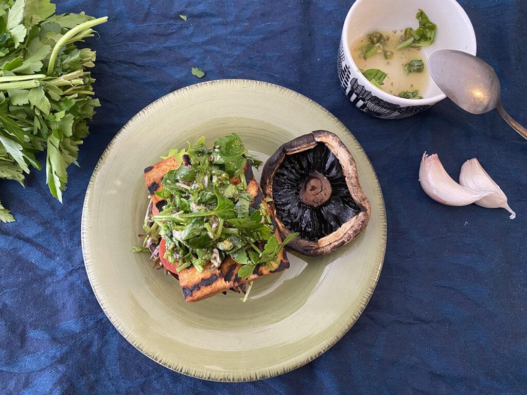 vegan burger with chimichurri